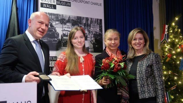 Вінничанку Ольгу Бенду нагородили в Берліні медаллю за боротьбу за права людини
