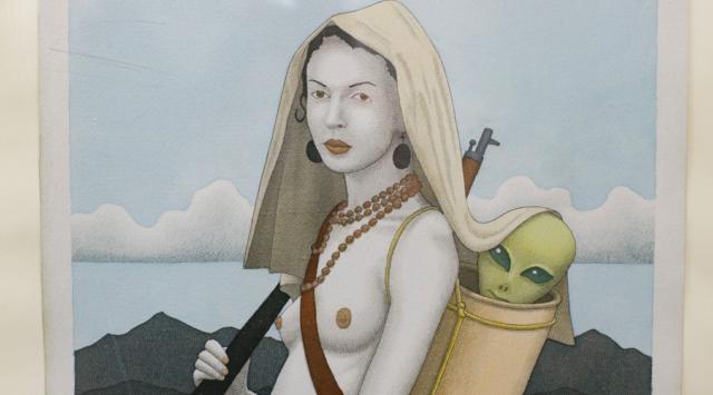 Інопланетянин у наплічнику та гола мавка: у Вінниці відкрилася виставка вінницького графіка Андрія Машковцева. ФОТО