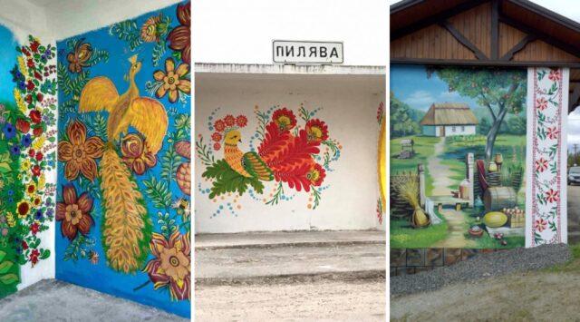 Квіти, хати та казкові птахи: як на Вінниччині розмальовують автобусні зупинки. ФОТО