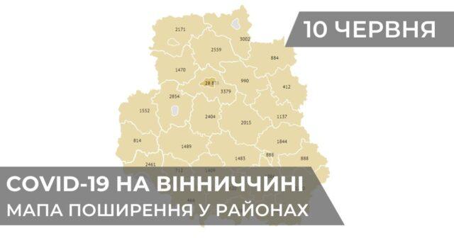 Коронавірус на Вінниччині: статистика поширення по районах станом на 10 червня. ГРАФІКА