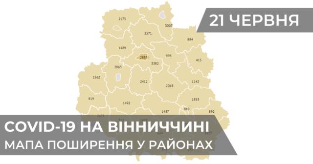 Коронавірус на Вінниччині: статистика поширення по районах станом на 21 червня. ГРАФІКА