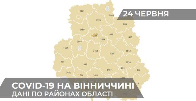 Коронавірус на Вінниччині: статистика поширення по районах станом на 24 червня. ГРАФІКА