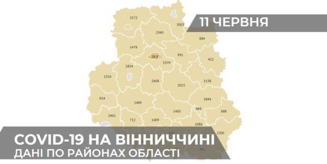 Коронавірус на Вінниччині: статистика поширення по районах станом на 11 червня. ГРАФІКА