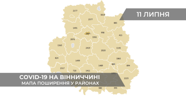 Коронавірус на Вінниччині: дані по районах станом на 11 липня. ГРАФІКА