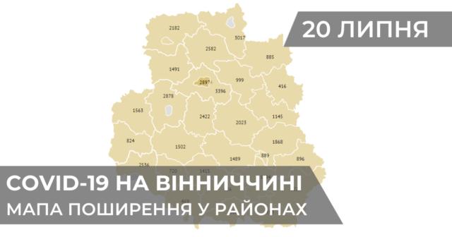 Коронавірус на Вінниччині: статистика поширення по районах станом на 20 липня. ГРАФІКА