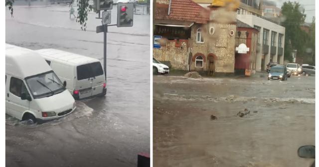 """""""Ріки"""" на дорогах та затори: наслідки зливи у Вінниці. ФОТО, ВІДЕО"""