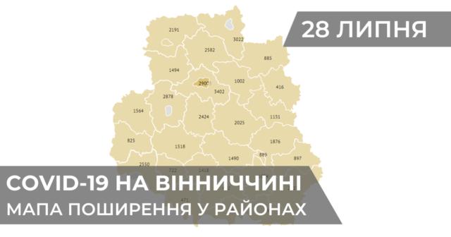 Коронавірус на Вінниччині: статистика поширення по районах станом на 28 липня. ГРАФІКА