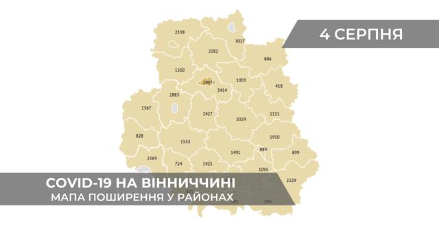 Коронавірус на Вінниччині: дані по районах станом на 4 серпня. ГРАФІКА