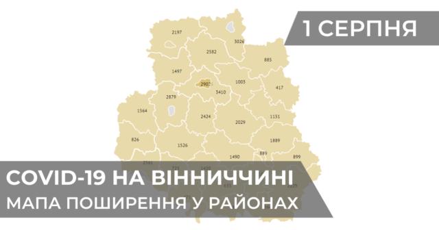 Коронавірус на Вінниччині: статистика поширення по районах станом на 1 серпня. ГРАФІКА