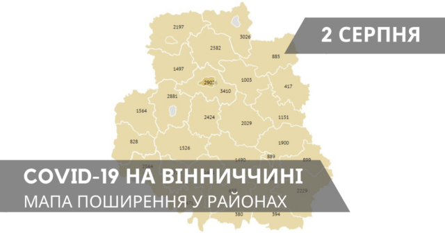 Коронавірус на Вінниччині: оновлені дані по районах станом на 2 серпня. ГРАФІКА