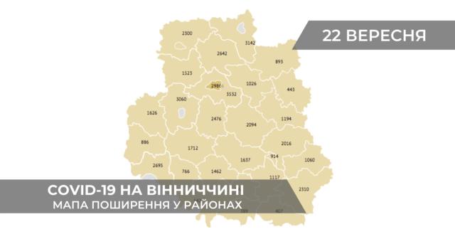Коронавірус на Вінниччині: дані по районах станом на 22 вересня. ГРАФІКА