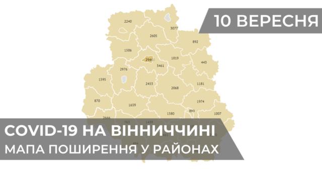 Коронавірус на Вінниччині: статистика поширення по районах станом на 10 вересня. ГРАФІКА