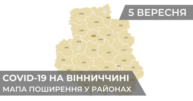 Коронавірус на Вінниччині: статистика поширення по районах станом на 5 вересня. ГРАФІКА