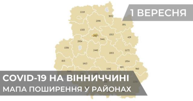Коронавірус на Вінниччині: статистика поширення по районах станом на 1 вересня. ГРАФІКА